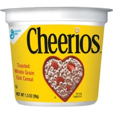 Cheerios Cereal-in-a-Cup - Original - 1 Serving Cup - 1.30 oz - 6 / Pack
