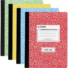 "TOPS Wide Ruled Composition Books - 100 Sheets - Sewn - Ruled Red Margin - 7 1/2"" x 9 3/4"" - Assorted Paper - Assorted Cover Marble - 1Each"