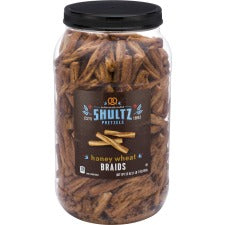 Office Snax Honey Wheat Braided Pretzels - Resealable Tub - Honey, Wheat - 1.50 lb - 1 Each