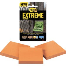 "Post-it® Extreme Notes - 3"" x 3"" - Square - 45 Sheets per Pad - Orange - Self-adhesive - 135 / Pack"