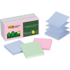 "Post-it® Greener Pop-up Notes - Helsinki Collection - 1200 - 3"" x 3"" - Square - 100 Sheets per Pad - Unruled - Assorted - Paper - Repositionable, Pop-up - 12 / Pack"