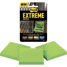 "Post-it® Extreme Notes - 3"" x 3"" - Square - 45 Sheets per Pad - Green - Self-adhesive - 135 / Pack"
