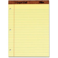 "TOPS Leatherette Binding 3-Hole Punch Legal Pads - 50 Sheets - Double Stitched - 0.34"" Ruled - 16 lb Basis Weight - 8 1/2"" x 11 3/4"" - Canary Paper - Perforated, Punched, Hard Cover - 12 / Dozen"