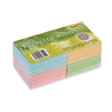 "Redi-Tag Self-Stick Recycled Notes - 300 x Green, 300 x Pink, 300 x Yellow, 300 x Blue - 3"" x 3"" - Square - Self-adhesive - 12 / Pack"