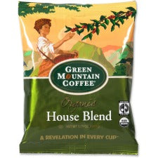 Green Mountain Coffee Roasters Fair Trade Organic House Blend Decaf Coffee - Decaffeinated - House Blend - Light - 2.5 oz - 50 CoffeeBag - 50 / Carton