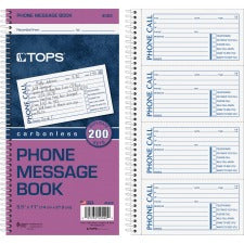 "TOPS Carbonless While You Were Out Book - Double Sided Sheet - Spiral Bound - 2 PartCarbonless Copy - 5 1/2"" x 11"" Sheet Size - White - Assorted Sheet(s) - Blue, Red Print Color - Recycled - 1 Each"