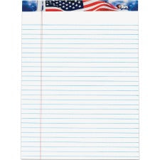 "TOPS American Pride Writing Tablets - 50 Sheets - Strip - 0.34"" Ruled - 16 lb Basis Weight - 8 1/2"" x 11 3/4"" - White Paper - Blue, Red, White Cover - Unpunched, Perforated - 12 / Pack"
