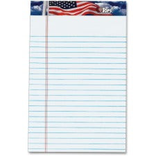 "TOPS American Pride Jr. Legal Rule Writing Pad - Jr.Legal - 50 Sheets - Strip - 16 lb Basis Weight - 5"" x 8"" - 8"" x 5"" - White Paper - Perforated, Heavyweight, Bleed Resistant, Acid-free - 12 / Dozen"