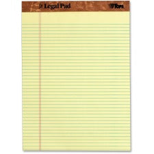 "Tops The Legal Pad 75370 Pad - 50 Sheets - Double Stitched - Ruled Red Margin - 16 lb Basis Weight - 8 1/2"" x 11"" - Canary Paper - Perforated, Bleed Resistant, Unpunched - 1Each"
