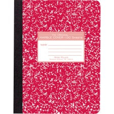 "Roaring Spring Wide-ruled Composition Book - 100 Sheets - Sewn/Tapebound - Ruled Red Margin - 15 lb Basis Weight - 7 1/2"" x 9 3/4""8""10"" - White Paper - Green, Red, Blue, Purple, White Cover Marble - Hard Cover, Class Schedule - 1Each"