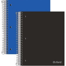 "Oxford 5-Subject Wire-Bound Notebook - 200 Sheets - Wire Bound Red Margin - 3 Hole(s) - 0.6"" x 9""11"" - Divider, Snag Resistant, Micro Perforated, Moisture Resistant, Resist Bleed-through - 2 / Pack"