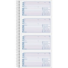 "TOPS Carbonless Phone Message Book - Double Sided Sheet - Spiral Bound - 2 PartCarbonless Copy - 5 1/2"" x 11"" Sheet Size - White - Assorted Sheet(s) - Blue, Red Print Color - 1 / Each"