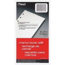 "Mead Memo Book Refill Pages - 80 Sheets - 3 3/4"" x 6 3/4"" - White Paper - Assorted Cover - 1Each"