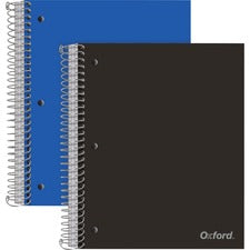 "Oxford 3-Subject Poly Notebook - 150 Sheets - Wire Bound Red Margin - 3 Hole(s) - 0.5"" x 8.5""10.5"" - Snag Resistant, Sturdy, Micro Perforated, Moisture Resistant, Smooth, Resist Bleed-through - 2 / Pack"