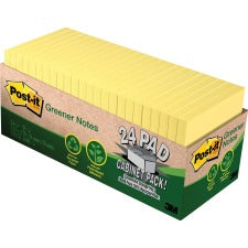 "Post-it® Greener Notes Cabinet Pack - 1800 - 3"" x 3"" - Square - 75 Sheets per Pad - Unruled - Canary Yellow - Paper - Self-adhesive, Repositionable - 24 / Pack"