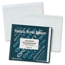 "Ekonomik Check Register Forms - 40 Sheet(s) - Wire Bound - 10"" x 8 3/4"" Sheet Size - 10 Columns per Sheet - White Sheet(s) - Green Print Color - Recycled - 1 Each"