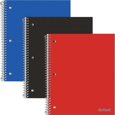 "Oxford 1-Subject Poly Notebook - 100 Sheets - Spiral Bound - 3 Hole(s) - 0.3"" x 8.5""10.5"" - Poly Cover - Pocket Divider, Snag Resistant, Micro Perforated, Smooth, Durable Cover, Moisture Resistant, Dual-sided Pocket - 3 / Pack"