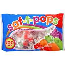 Saf-T-Pops Wrapped Lollipops - Cherry, Grape, Apple, Orange - Individually Wrapped - 4.50 lb - 200 / Bag