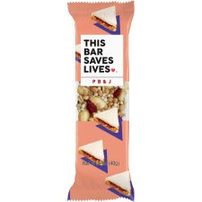 This Bar Saves Lives P B & J Snack Bar - Gluten-free, Non-GMO, Low Sugar, High-fiber - Peanut Butter & Jelly - Box - 1.40 oz - 12 / Box