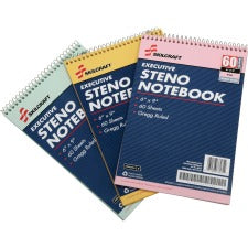 "SKILCRAFT Rainbow Executive Steno Notebooks - 60 Sheets - 0.34"" Ruled - Gregg Ruled - 20 lb Basis Weight - 9"" x 6"" x 2"" - Gold, Pink, Green Cover - Acid-free, Chlorine-free - 3 / Pack"
