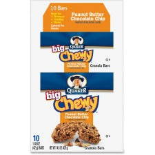 Quaker Oats Peanut Butter Big Chewy Granola Bar - Individually Wrapped - Peanut Butter - Box - 1.48 oz - 10 / Box