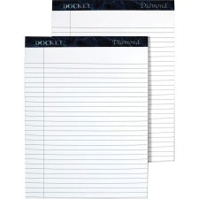 "TOPS Docket Diamond Notepads - 50 Sheets - Watermark - Double Stitched - 0.34"" Ruled - 24 lb Basis Weight - 8 1/2"" x 11 3/4"" - White Paper - Blue Binder - Chipboard Cover - Perforated, Hard Cover, Stiff-back - 2 / Box"