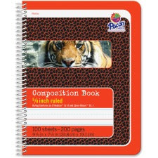 "Pacon Composition Book - 100 Sheets - 200 Pages - Spiral Bound - Short Way Ruled - 0.63"" Ruled - 4.50"" Picture Story Space - 7 1/2"" x 9 3/4"" - Red Cover - Recycled - 100 / Each"