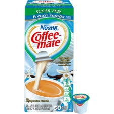 Nestlé® Coffee-mate® Coffee Creamer Sugar-Free French Vanilla - liquid creamer singles - French Vanilla Flavor - 0.38 fl oz (11 mL) - 50/Box