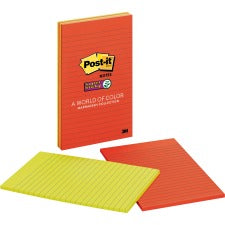 "Post-it® Super Sticky Lined Notes - Marrakesh Color Collection - 180 - 5"" x 8"" - Rectangle - 45 Sheets per Pad - Ruled - Assorted - Paper - Self-adhesive - 4 / Pack"