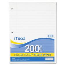 "Mead Notebook Filler Paper - Letter - 200 Sheets - Spiral - 0.31"" Ruled - Ruled Red Margin - 16 lb Basis Weight - 8 1/2"" x 11"" - White Paper - 200 / Pack"