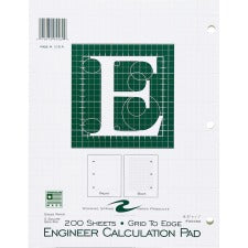 "Roaring Spring Engineer Calculation Pads - Letter - 200 Sheets - Plain/Printed - Glued - 3 Hole(s) - 16 lb Basis Weight - 8 1/2"" x 11"" - Green Paper - Chipboard Cover - Punched, Poly Wrapped - 1Each"