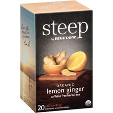 Bigelow Lemon Ginger Herbal Tea - Herbal Tea, Decaffeinated - Lemon Ginger, Spicy Ginger - 1.6 oz - 120 Teabag - GMO Free - Kosher - Organic - 20 / Box