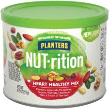 Planters Kraft NUT-rition Heart Healthy Mix - Resealable Container - Almond, Pecan, Hazelnut, Pistachio, Peanut, Walnut - 9.75 oz - 1 Each