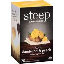 Bigelow Dandelion and Peach Rooibos and Green Tea OneCup - Green Tea, Caffeinated - Dandelion, Peach Rooibos - 1.2 oz - 120 Teabag - GMO Free - Kosher - Organic - 20 / Box
