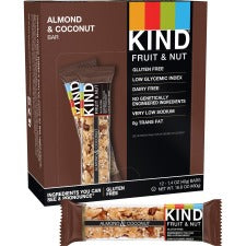 KIND Almond/Coconut Fruit and Nut Bars - Gluten-free, Wheat-free, Dairy-free, Non-GMO, Sulfur dioxide-free - Coconut, Almond - 1.40 oz - 12 / Box