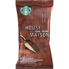 Starbucks House Blend Medium Roast Ground Coffee - House Blend, Nut, Cocoa - Medium - 2.5 oz - 18 / Box