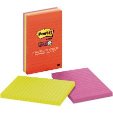 "Post-it® Notes Original Lined Notepads -Marrakesh Color Collection - 270 - 4"" x 6"" - Rectangle - 90 Sheets per Pad - Ruled - Assorted - Paper - Self-adhesive - 3 / Pack"