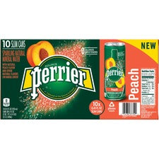 Perrier Slim Can Mineral Water Beverage - Peach Flavor - 8.45 fl oz (250 mL) - Can - 30 / Carton
