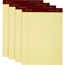 "TOPS Gold Fibre Premium Rule Writing Pads - Letter - 50 Sheets - Watermark - Stapled/Glued - 0.34"" Ruled - 20 lb Basis Weight - 8 1/2"" x 11"" - Yellow Paper - Micro Perforated, Bleed-free, Chipboard Backing - 4 / Pack"