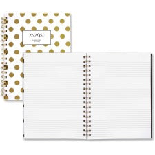 "Cambridge Hardcover Wirebound Notebook - Twin Wirebound - Both Side Ruling Surface - Ruled - 7"" x 9 1/2"" - Gold Cover Dotted - Hard Cover, Dual Sided - 1Each"