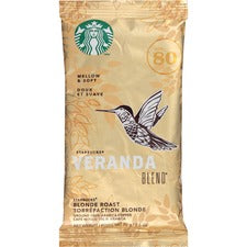 Starbucks Veranda Blend Blonde Roast Ground Coffee - Veranda Blend, Soft Cocoa, Toasted Nut, Mellow - Blonde - 2.5 oz - 18 / Box