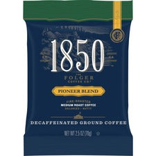 Folgers® 1850 Pioneer Blend Decaf Ground Coffee Pouches - Decaffeinated - Arabica, Nut, Pioneer - 2.5 oz - 24 / Carton