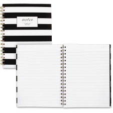 Cambridge Hardcover Wirebound Notebook - Twin Wirebound - Both Side Ruling Surface - Ruled - Black & White Cover Stripe - Hard Cover, Dual Sided - 1Each