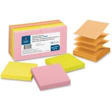 "Business Source Reposition Pop-up Adhesive Notes - 3"" x 3"" - Square - Assorted Neon - Removable, Repositionable, Solvent-free Adhesive - 12 / Pack"