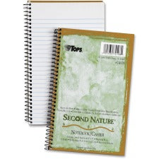 "Tops Second Nature 1-Subject Notebook - 80 Sheets - Wire Bound - 15 lb Basis Weight - 8"" x 5"" - White Paper - Green Cover - Perforated - Recycled - 1Each"