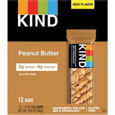 KIND Nuts & Spices Bars - Gluten-free, Trans Fat Free, No Artificial Flavor, Low Glycemic - Peanut Butter - 1.40 oz - 12 / Box