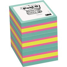 "Post-it® Super Sticky Notes Cubes - 3"" x 3"" - Square - Multicolor - 3 / Pack"