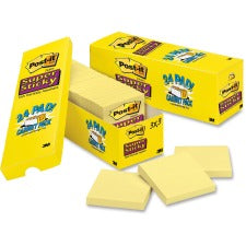"Post-it® Super Sticky Notes - 1680 - 3"" x 3"" - Square - 90 Sheets per Pad - Unruled - Canary Yellow - Paper - Self-adhesive, Repositionable - 24 / Pack"