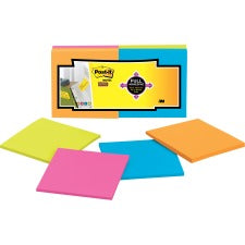 "Post-it® Super Sticky Full Adhesive Notes - Rio de Janeiro Color Collection - 300 x Assorted - 3"" x 3"" - Square - 25 Sheets per Pad - Unruled - Neon Pink, Electric Blue, Limeade, Electric Yellow - Paper - Removable - 12 / Pack"