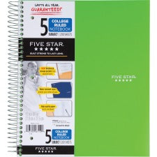 "Mead Wirebound College-ruled Notebook - 200 Sheets - Wire Bound - 8 1/2"" x 11"" - White Paper - Assorted Cover - Poly Cover - Perforated, Pocket Divider - 1Each"